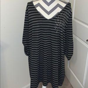 Pre-owned Lane Bryant Stylish Black/Grey Tunic